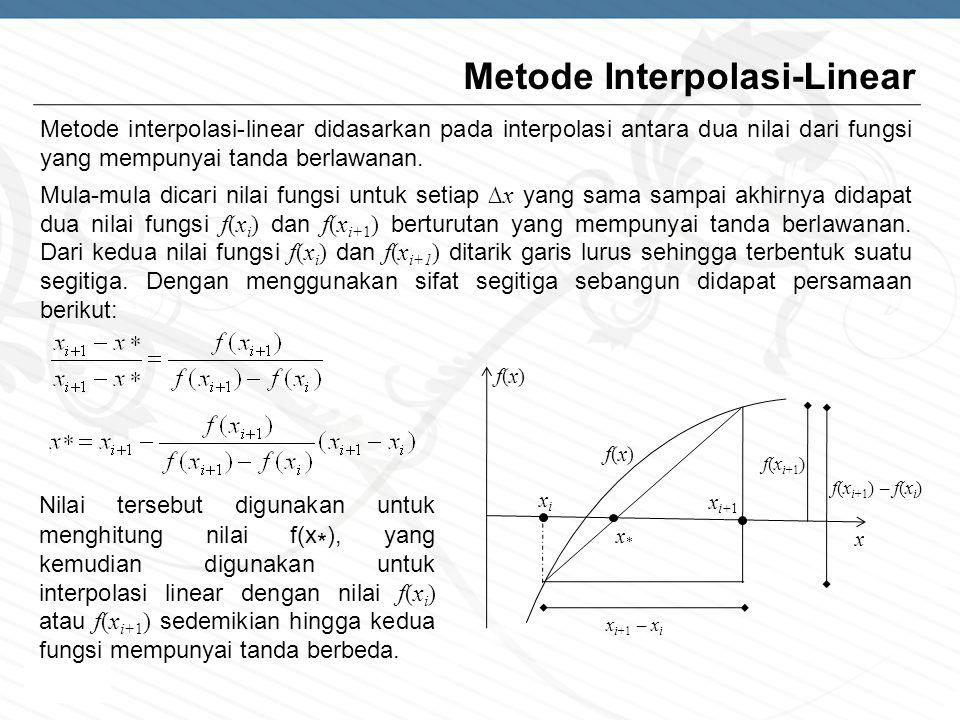 Page  6 Metode Interpolasi-Linear Metode interpolasi-linear didasarkan pada interpolasi antara dua nilai dari fungsi yang mempunyai tanda berlawanan.