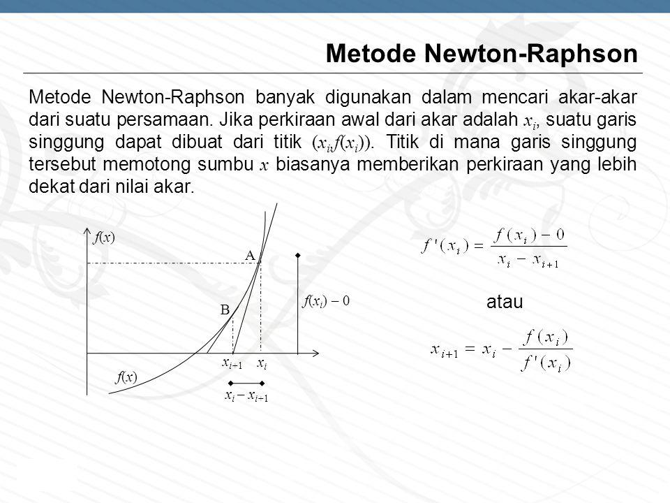 Page  8 Metode Newton-Raphson Metode Newton-Raphson banyak digunakan dalam mencari akar-akar dari suatu persamaan. Jika perkiraan awal dari akar adal