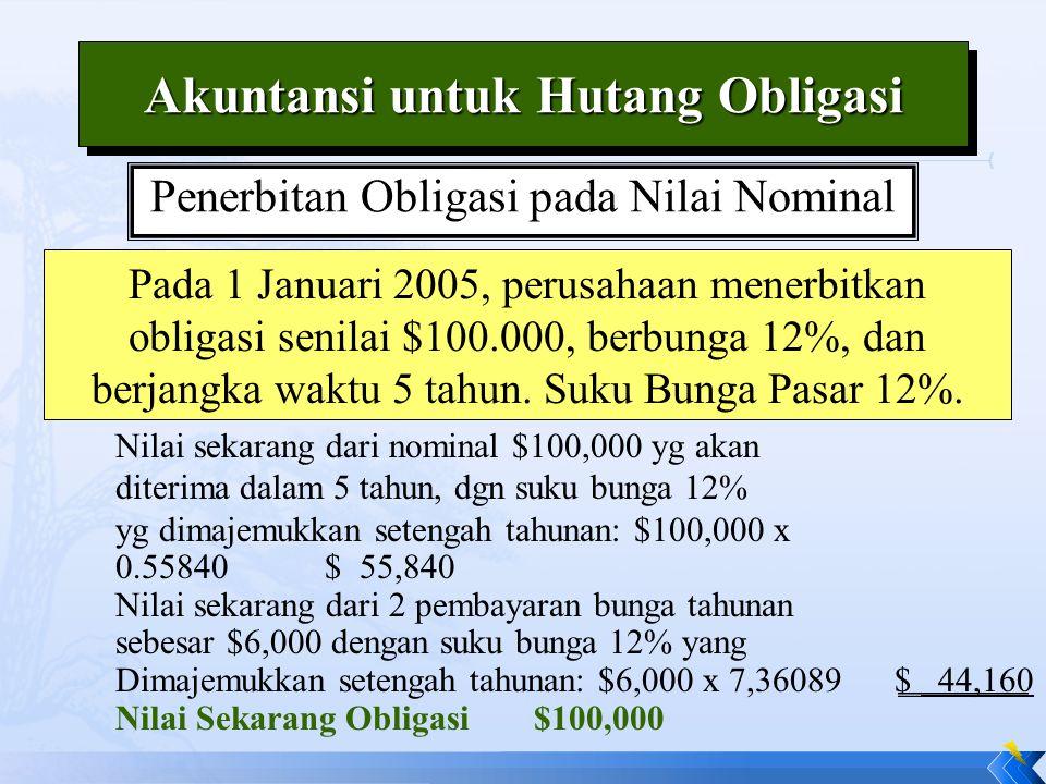 Penerbitan Obligasi pada Nilai Nominal Pada 1 Januari 2005, perusahaan menerbitkan obligasi senilai $100.000, berbunga 12%, dan berjangka waktu 5 tahun.