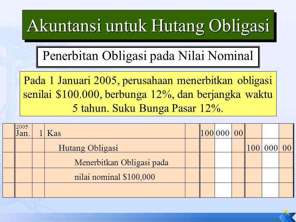 Akuntansi untuk Hutang Obligasi Pada 1 Januari 2005, perusahaan menerbitkan obligasi senilai $100.000, berbunga 12%, dan berjangka waktu 5 tahun. Suku