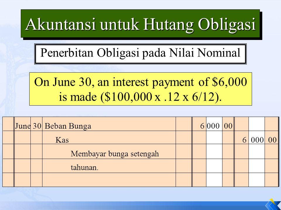 Akuntansi untuk Hutang Obligasi On June 30, an interest payment of $6,000 is made ($100,000 x.12 x 6/12). June 30Beban Bunga6 000 00 Membayar bunga se