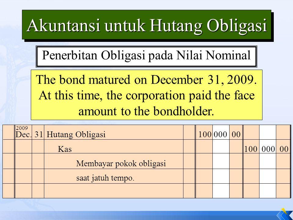 The bond matured on December 31, 2009.