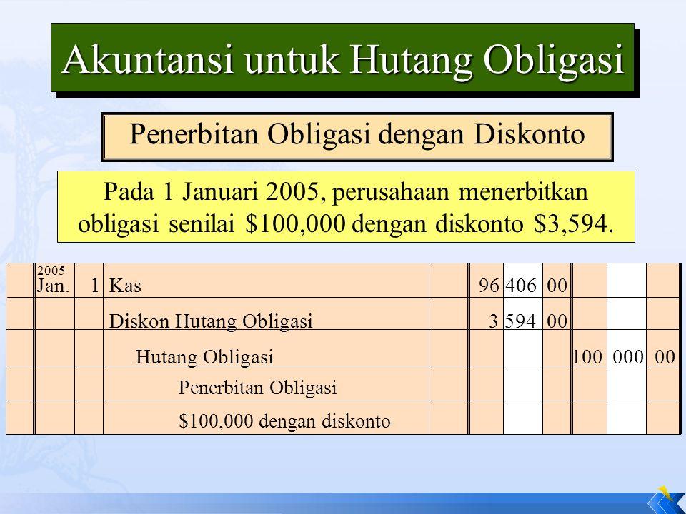 Pada 1 Januari 2005, perusahaan menerbitkan obligasi senilai $100,000 dengan diskonto $3,594. Akuntansi untuk Hutang Obligasi Jan.1Kas96 406 00 Diskon