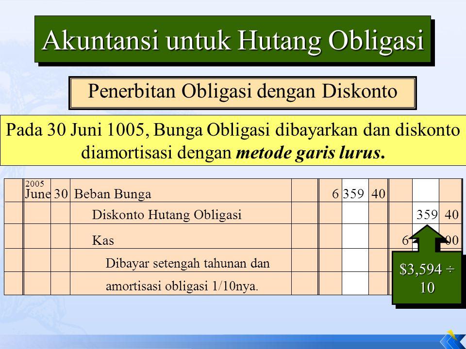 Pada 30 Juni 1005, Bunga Obligasi dibayarkan dan diskonto diamortisasi dengan metode garis lurus. June30Beban Bunga6 359 40 Dibayar setengah tahunan d