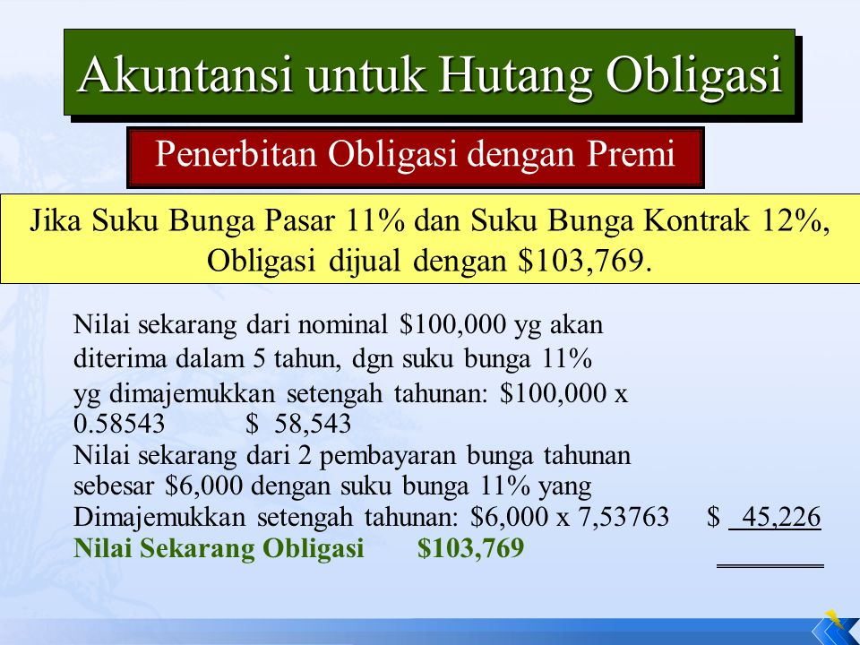 Jika Suku Bunga Pasar 11% dan Suku Bunga Kontrak 12%, Obligasi dijual dengan $103,769. Akuntansi untuk Hutang Obligasi Penerbitan Obligasi dengan Prem