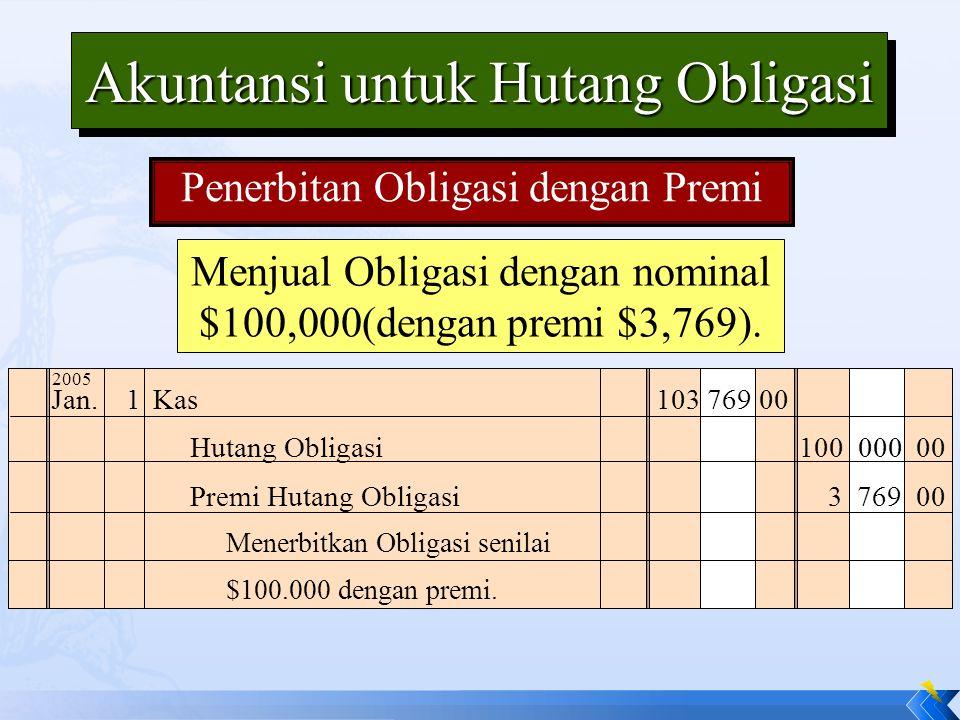 Menjual Obligasi dengan nominal $100,000(dengan premi $3,769). Jan.1Kas103 769 00 Menerbitkan Obligasi senilai $100.000 dengan premi. Hutang Obligasi1
