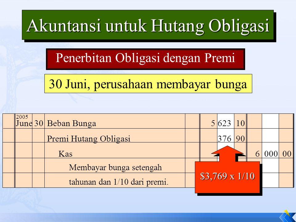 30 Juni, perusahaan membayar bunga June30Beban Bunga5 623 10 Premi Hutang Obligasi376 90 Membayar bunga setengah tahunan dan 1/10 dari premi. Kas6 000
