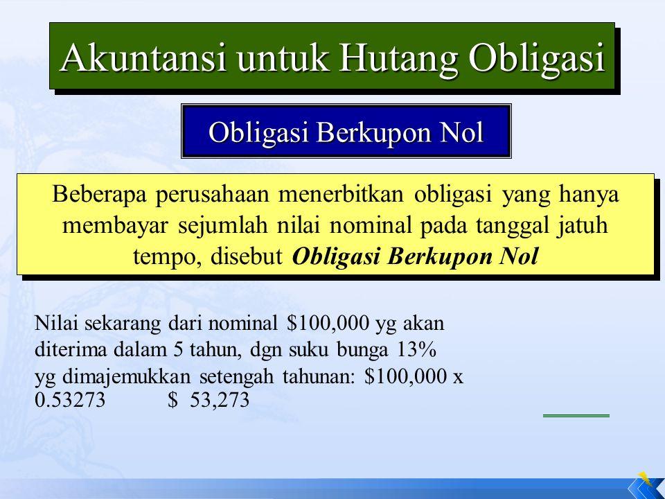 Obligasi Berkupon Nol Beberapa perusahaan menerbitkan obligasi yang hanya membayar sejumlah nilai nominal pada tanggal jatuh tempo, disebut Obligasi B