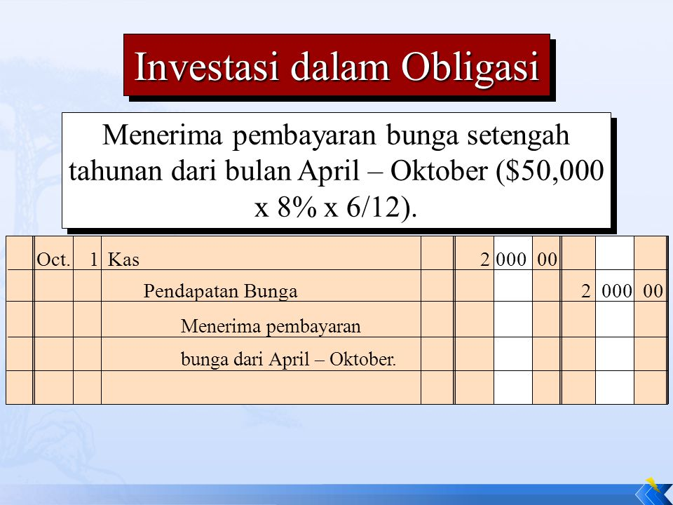 Menerima pembayaran bunga setengah tahunan dari bulan April – Oktober ($50,000 x 8% x 6/12).