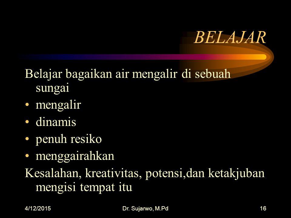 4/12/2015Dr. Sujarwo, M.Pd15 KALAU INGIN MENGAJAR BELAJARLAH UNTUK BERHENTI MENGAJAR, seperti itu!