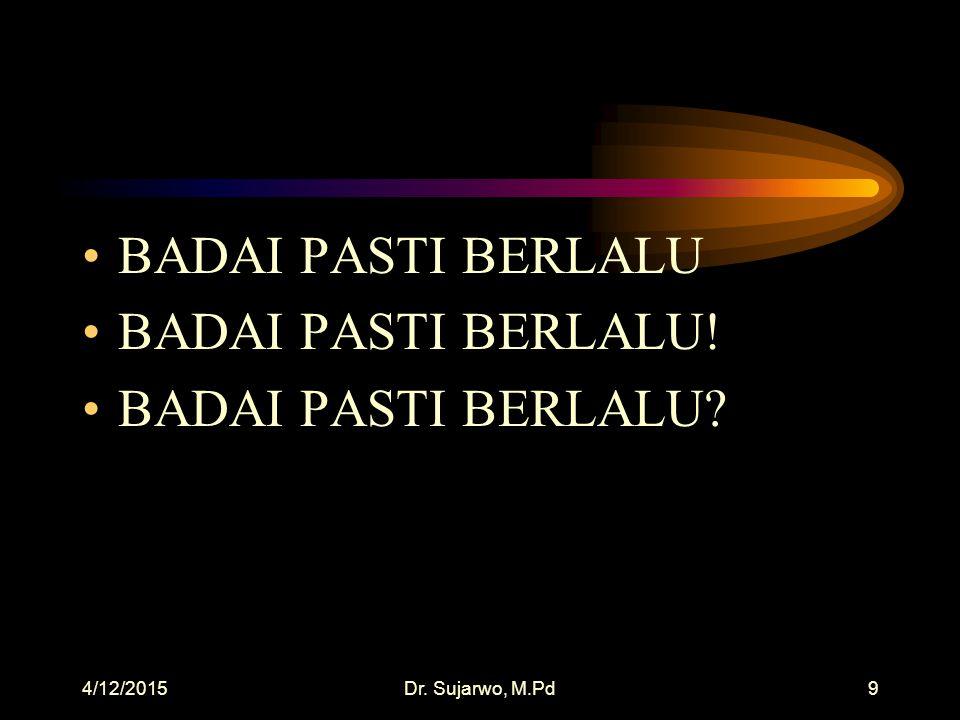 4/12/2015Dr. Sujarwo, M.Pd9 BADAI PASTI BERLALU BADAI PASTI BERLALU! BADAI PASTI BERLALU?