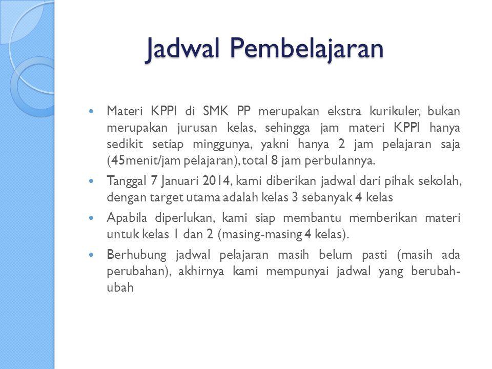 Jadwal Pembelajaran Materi KPPI di SMK PP merupakan ekstra kurikuler, bukan merupakan jurusan kelas, sehingga jam materi KPPI hanya sedikit setiap minggunya, yakni hanya 2 jam pelajaran saja (45menit/jam pelajaran), total 8 jam perbulannya.