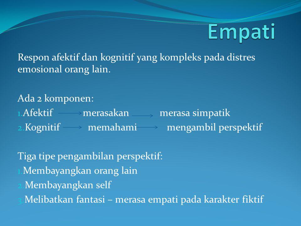 Respon afektif dan kognitif yang kompleks pada distres emosional orang lain. Ada 2 komponen: 1. Afektif merasakan merasa simpatik 2. Kognitif memahami