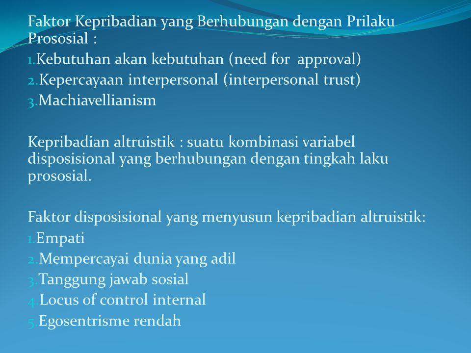 Faktor Kepribadian yang Berhubungan dengan Prilaku Prososial : 1. Kebutuhan akan kebutuhan (need for approval) 2. Kepercayaan interpersonal (interpers
