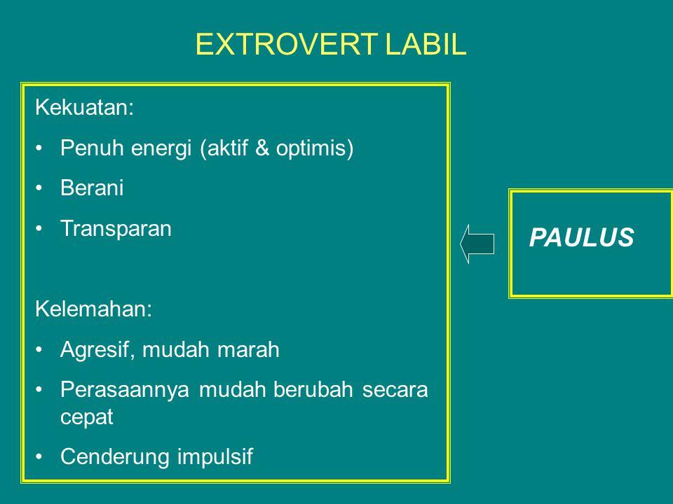 Kekuatan: Penuh energi (aktif & optimis) Berani Transparan Kelemahan: Agresif, mudah marah Perasaannya mudah berubah secara cepat Cenderung impulsif EXTROVERT LABIL PAULUS
