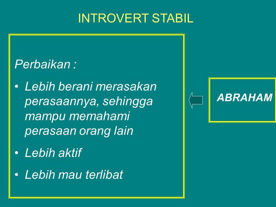 Perbaikan : Lebih berani merasakan perasaannya, sehingga mampu memahami perasaan orang lain Lebih aktif Lebih mau terlibat INTROVERT STABIL ABRAHAM