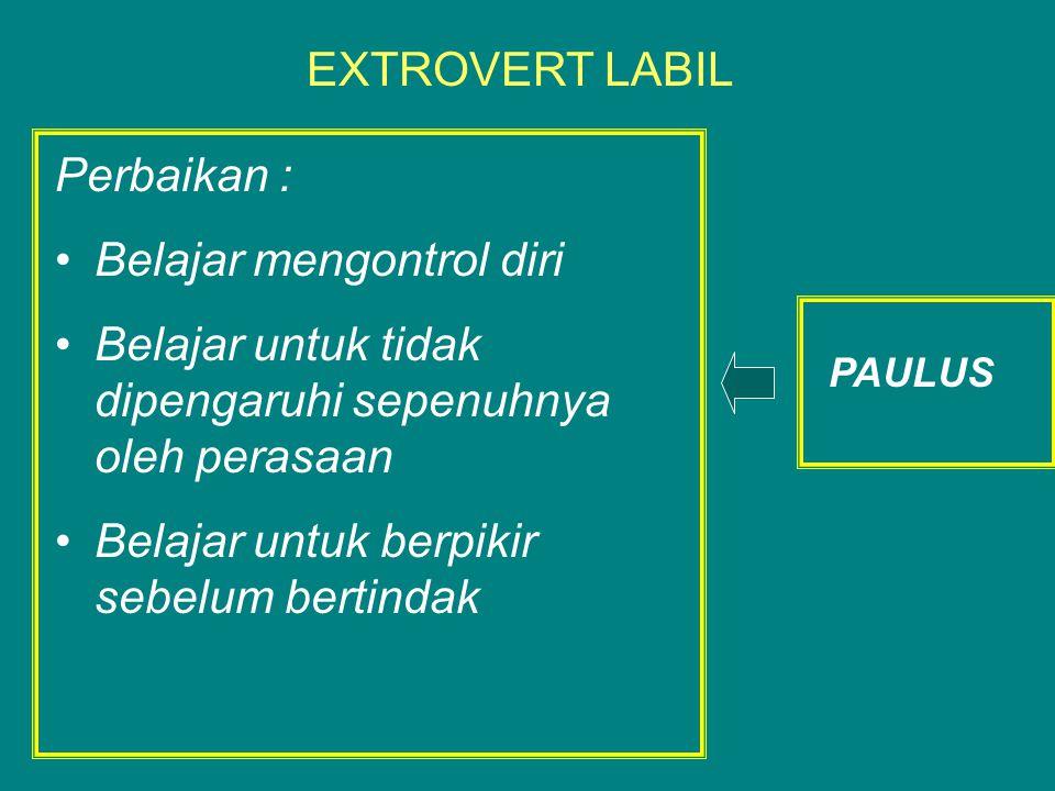 Perbaikan : Belajar mengontrol diri Belajar untuk tidak dipengaruhi sepenuhnya oleh perasaan Belajar untuk berpikir sebelum bertindak EXTROVERT LABIL PAULUS