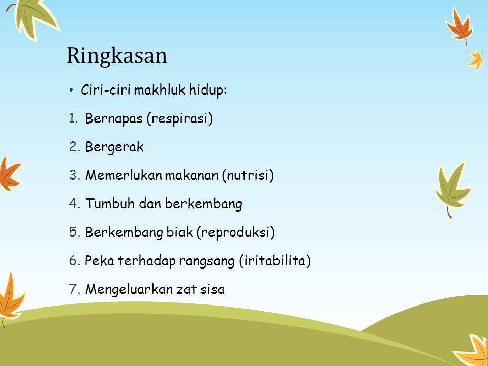 Ringkasan Ciri-ciri makhluk hidup: 1. Bernapas (respirasi) 2. Bergerak 3. Memerlukan makanan (nutrisi) 4. Tumbuh dan berkembang 5. Berkembang biak (re