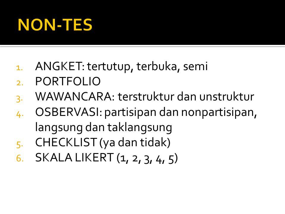 1. ANGKET: tertutup, terbuka, semi 2. PORTFOLIO 3. WAWANCARA: terstruktur dan unstruktur 4. OSBERVASI: partisipan dan nonpartisipan, langsung dan takl