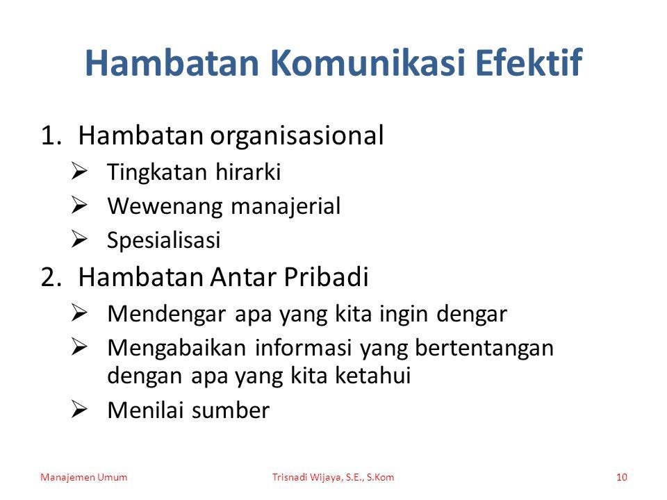Hambatan Komunikasi Efektif 1.Hambatan organisasional  Tingkatan hirarki  Wewenang manajerial  Spesialisasi 2.Hambatan Antar Pribadi  Mendengar ap