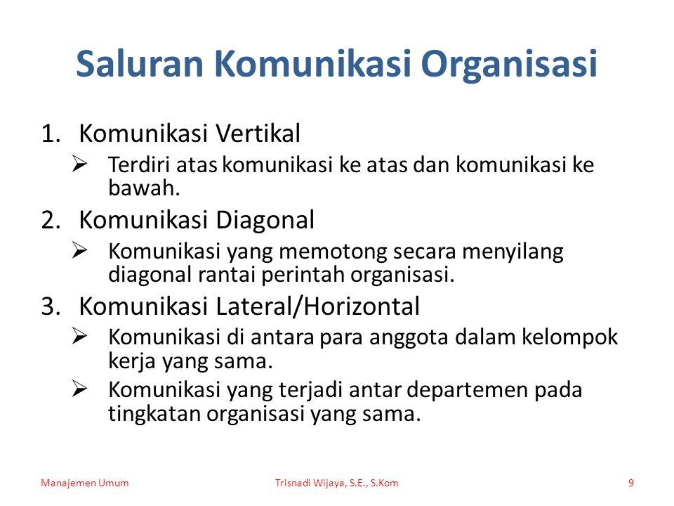 Saluran Komunikasi Organisasi 1.Komunikasi Vertikal  Terdiri atas komunikasi ke atas dan komunikasi ke bawah. 2.Komunikasi Diagonal  Komunikasi yang