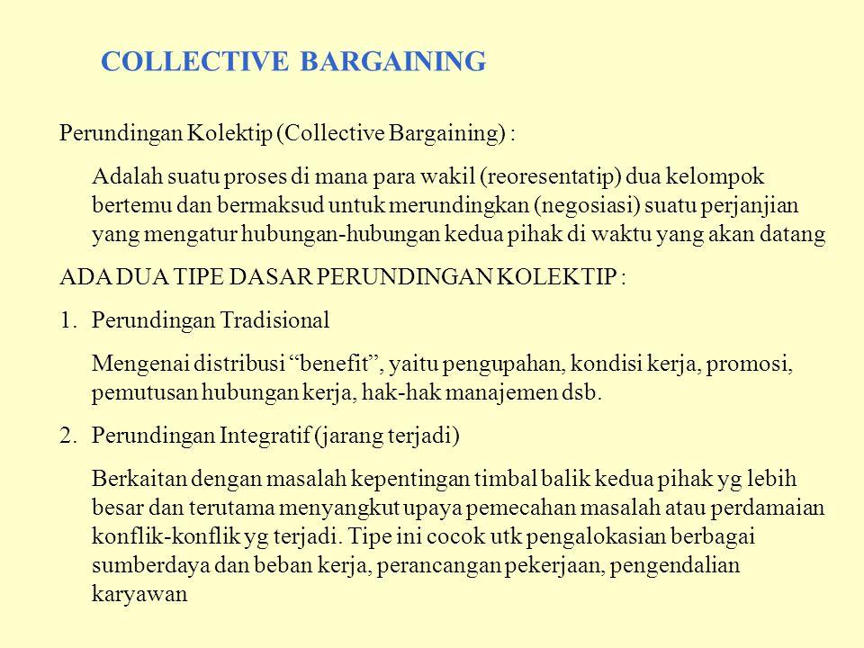 COLLECTIVE BARGAINING Perundingan Kolektip (Collective Bargaining) : Adalah suatu proses di mana para wakil (reoresentatip) dua kelompok bertemu dan b
