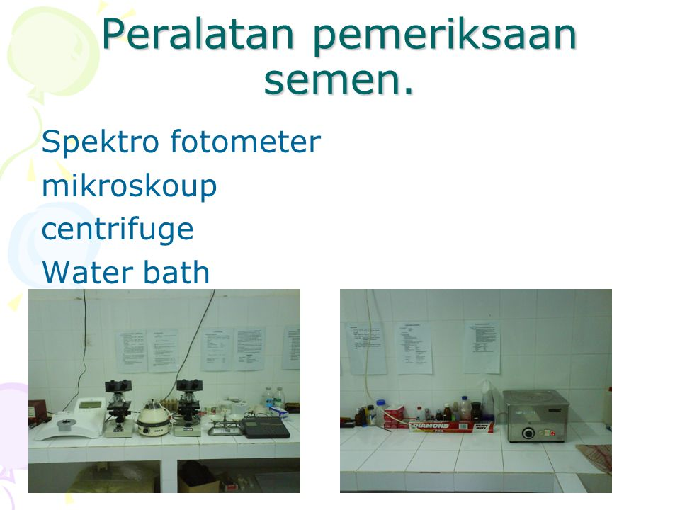Peralatan pemeriksaan semen. Spektro fotometer mikroskoup centrifuge Water bath