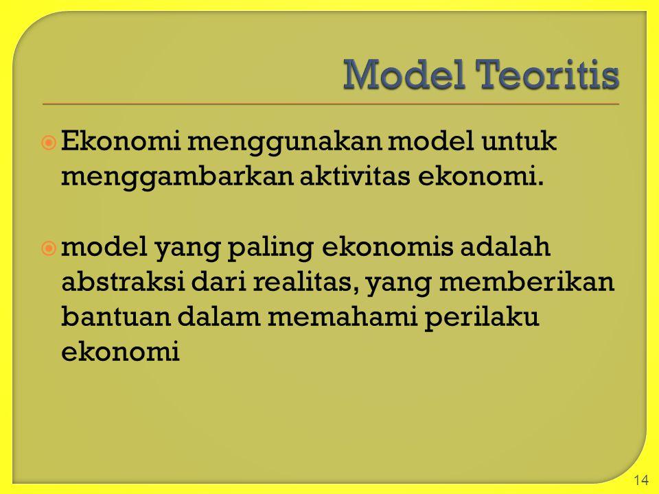  Ekonomi menggunakan model untuk menggambarkan aktivitas ekonomi.  model yang paling ekonomis adalah abstraksi dari realitas, yang memberikan bantua