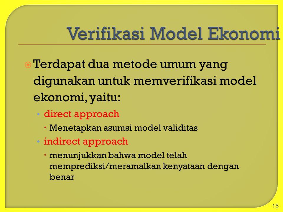  Terdapat dua metode umum yang digunakan untuk memverifikasi model ekonomi, yaitu: direct approach  Menetapkan asumsi model validitas indirect appro