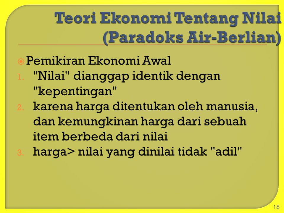 Pemikiran Ekonomi Awal 1.