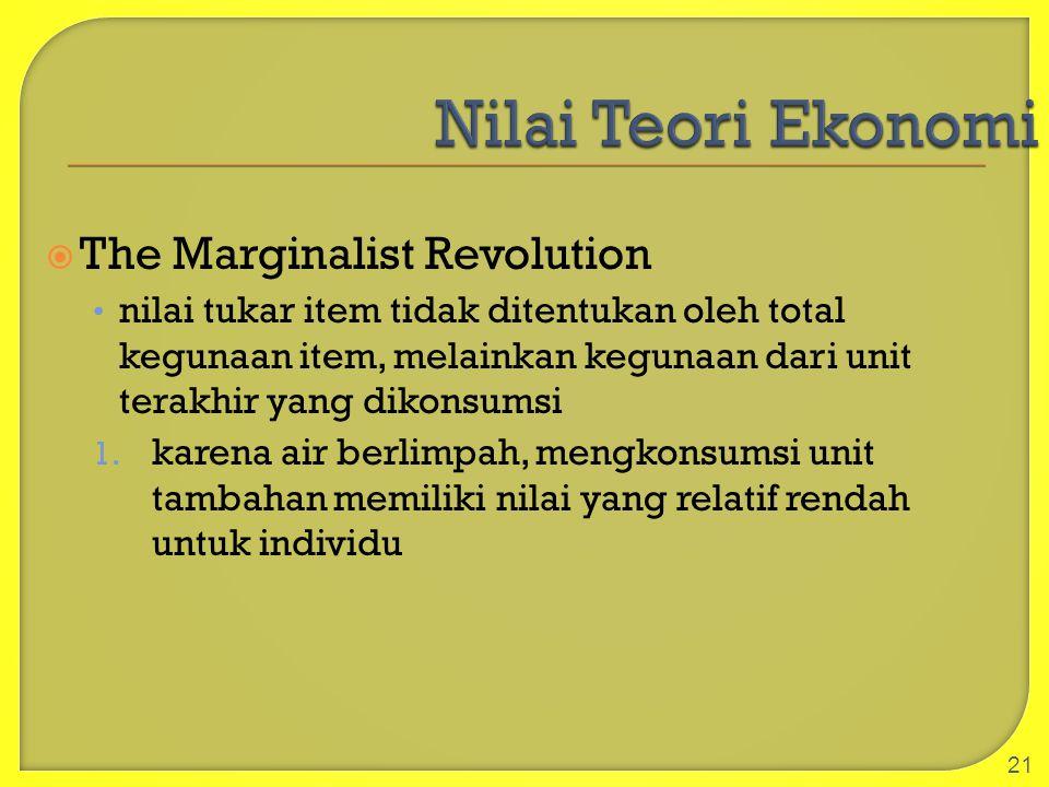  The Marginalist Revolution nilai tukar item tidak ditentukan oleh total kegunaan item, melainkan kegunaan dari unit terakhir yang dikonsumsi 1. kare