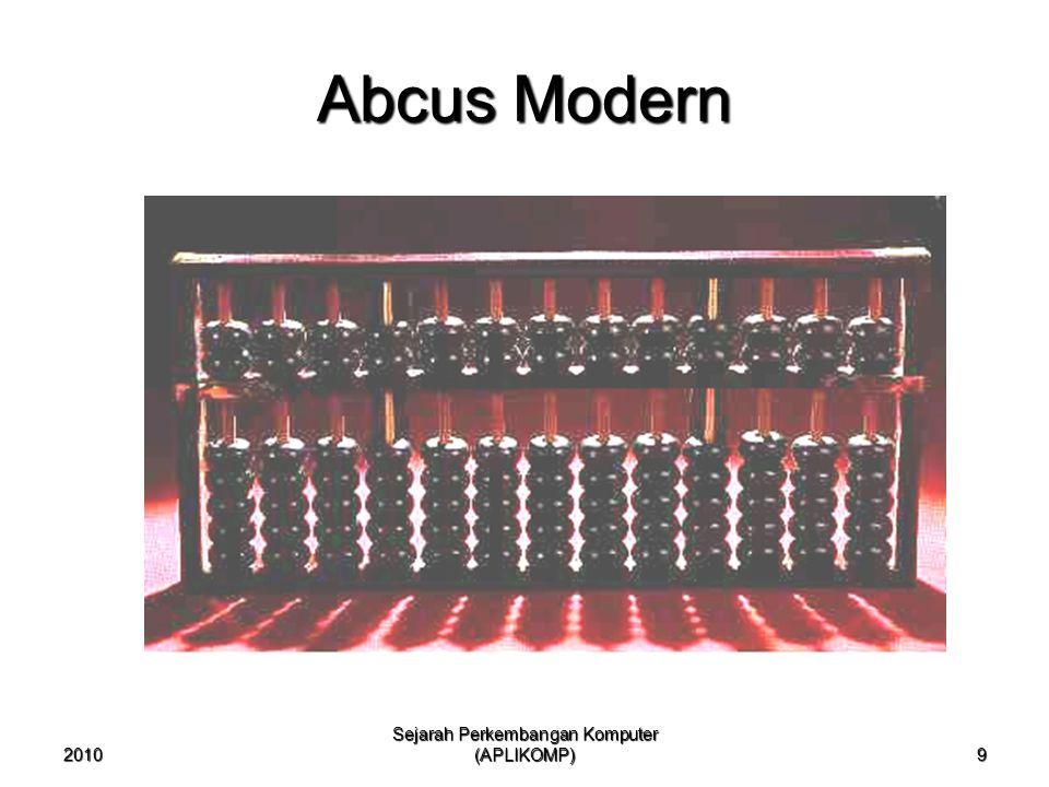 2010 Sejarah Perkembangan Komputer (APLIKOMP) 10 Blaise Pascal Pada tahun 1642 dalam usia 19 tahun menemukan mesin penjumlah mekanis yang pertama.Pada tahun 1642 dalam usia 19 tahun menemukan mesin penjumlah mekanis yang pertama.