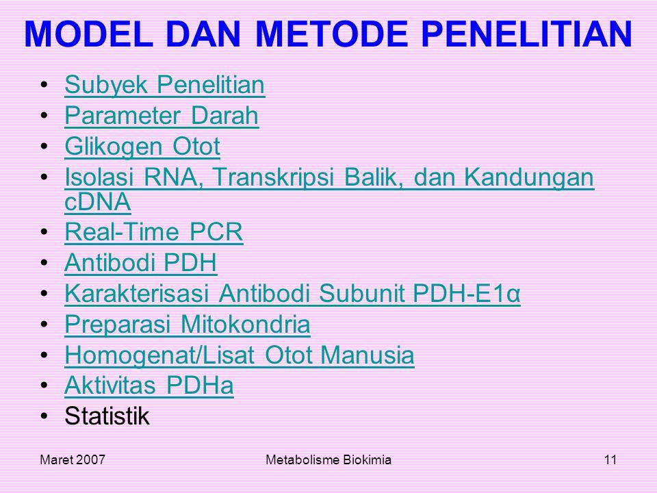 Maret 2007Metabolisme Biokimia11 MODEL DAN METODE PENELITIAN Subyek Penelitian Parameter Darah Glikogen Otot Isolasi RNA, Transkripsi Balik, dan Kandu