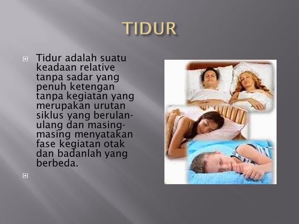  Tidur adalah suatu keadaan relative tanpa sadar yang penuh ketengan tanpa kegiatan yang merupakan urutan siklus yang berulan- ulang dan masing- masi