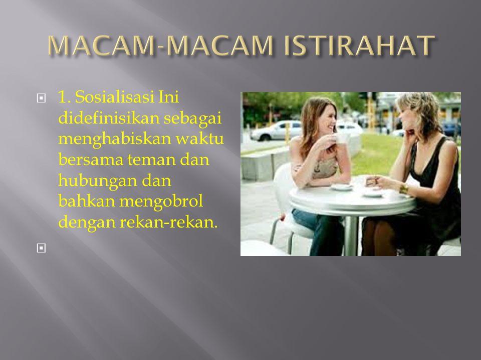 1. Sosialisasi Ini didefinisikan sebagai menghabiskan waktu bersama teman dan hubungan dan bahkan mengobrol dengan rekan-rekan.