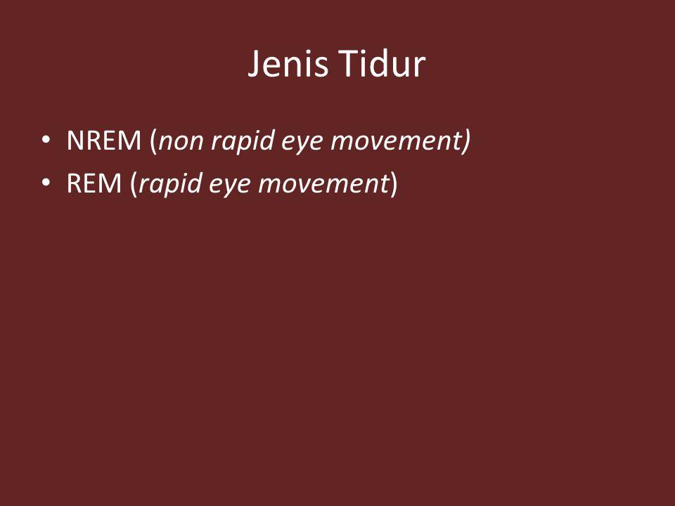 Jenis Tidur NREM (non rapid eye movement) REM (rapid eye movement)
