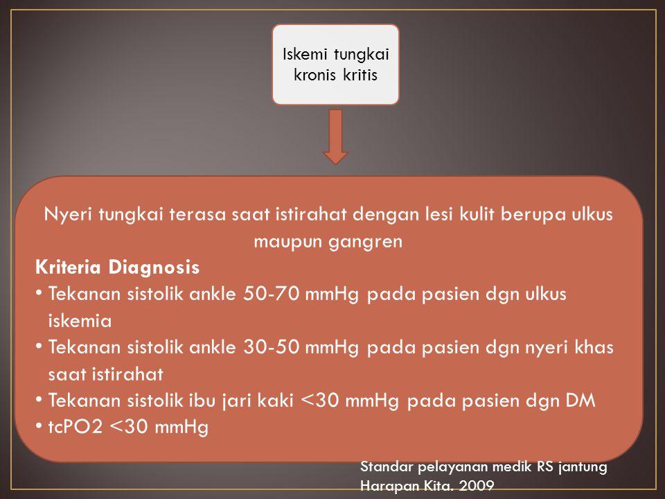 Nyeri tungkai terasa saat istirahat dengan lesi kulit berupa ulkus maupun gangren Kriteria Diagnosis T ekanan sistolik ankle 50-70 mmHg pada pasien dgn ulkus iskemia T ekanan sistolik ankle 30-50 mmHg pada pasien dgn nyeri khas saat istirahat T ekanan sistolik ibu jari kaki <30 mmHg pada pasien dgn DM t cPO2 <30 mmHg Iskemi tungkai kronis kritis Standar pelayanan medik RS jantung Harapan Kita.