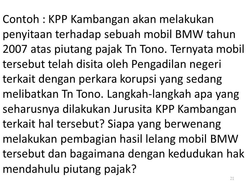 21 Contoh : KPP Kambangan akan melakukan penyitaan terhadap sebuah mobil BMW tahun 2007 atas piutang pajak Tn Tono. Ternyata mobil tersebut telah disi