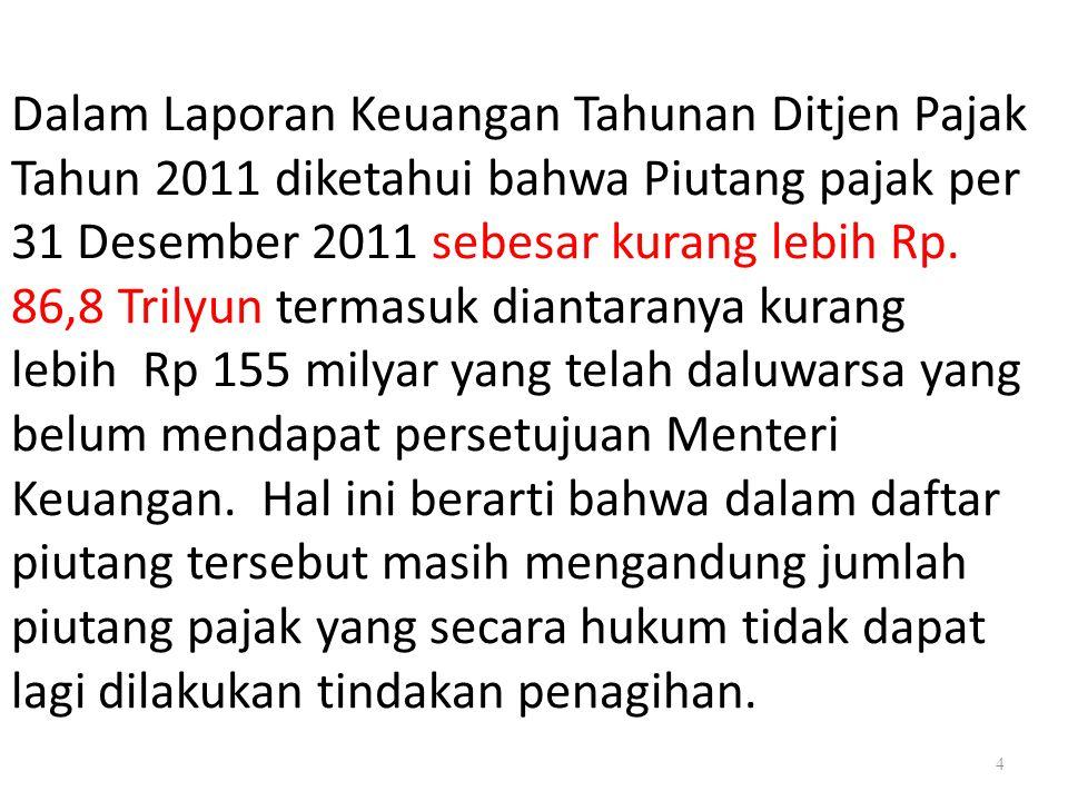 4 Dalam Laporan Keuangan Tahunan Ditjen Pajak Tahun 2011 diketahui bahwa Piutang pajak per 31 Desember 2011 sebesar kurang lebih Rp. 86,8 Trilyun term