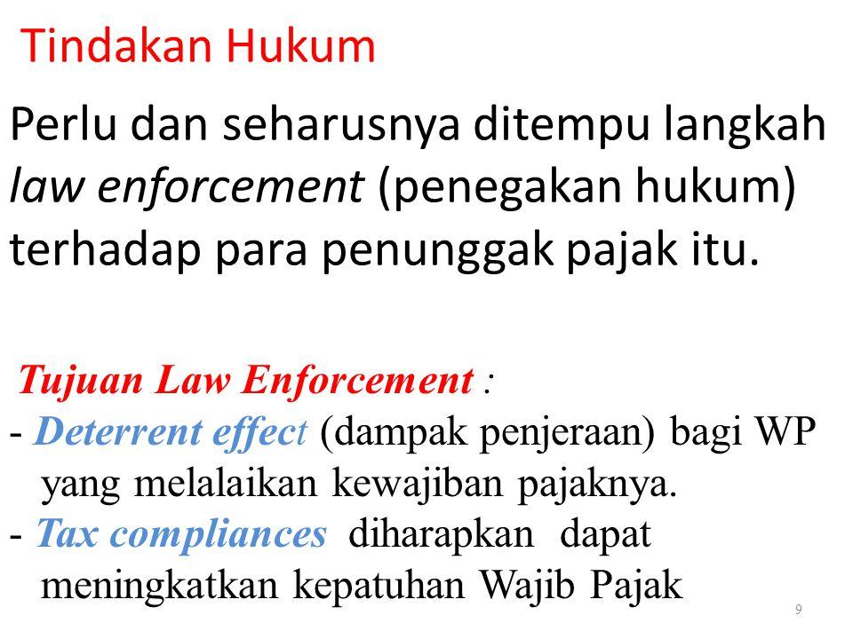 9 Tindakan Hukum Perlu dan seharusnya ditempu langkah law enforcement (penegakan hukum) terhadap para penunggak pajak itu. Tujuan Law Enforcement : -