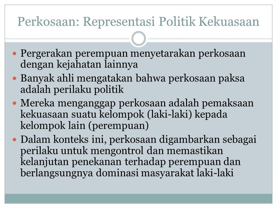 Perkosaan: Representasi Politik Kekuasaan Pergerakan perempuan menyetarakan perkosaan dengan kejahatan lainnya Banyak ahli mengatakan bahwa perkosaan