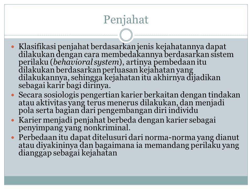 Penjahat Klasifikasi penjahat berdasarkan jenis kejahatannya dapat dilakukan dengan cara membedakannya berdasarkan sistem perilaku (behavioral system)