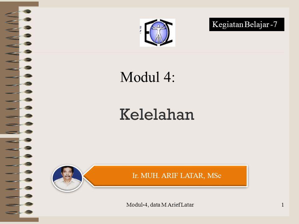 Kelelahan Modul-4, data M Arief Latar Ir. MUH. ARIF LATAR, MSc Modul 4: Kegiatan Belajar -7 1