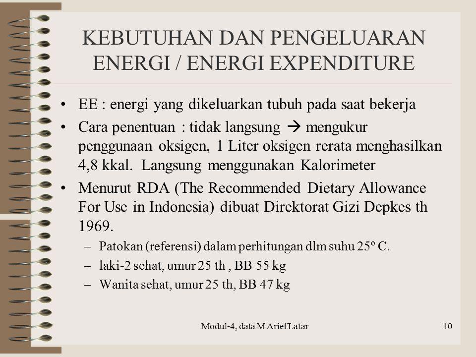 KEBUTUHAN DAN PENGELUARAN ENERGI / ENERGI EXPENDITURE EE : energi yang dikeluarkan tubuh pada saat bekerja Cara penentuan : tidak langsung  mengukur