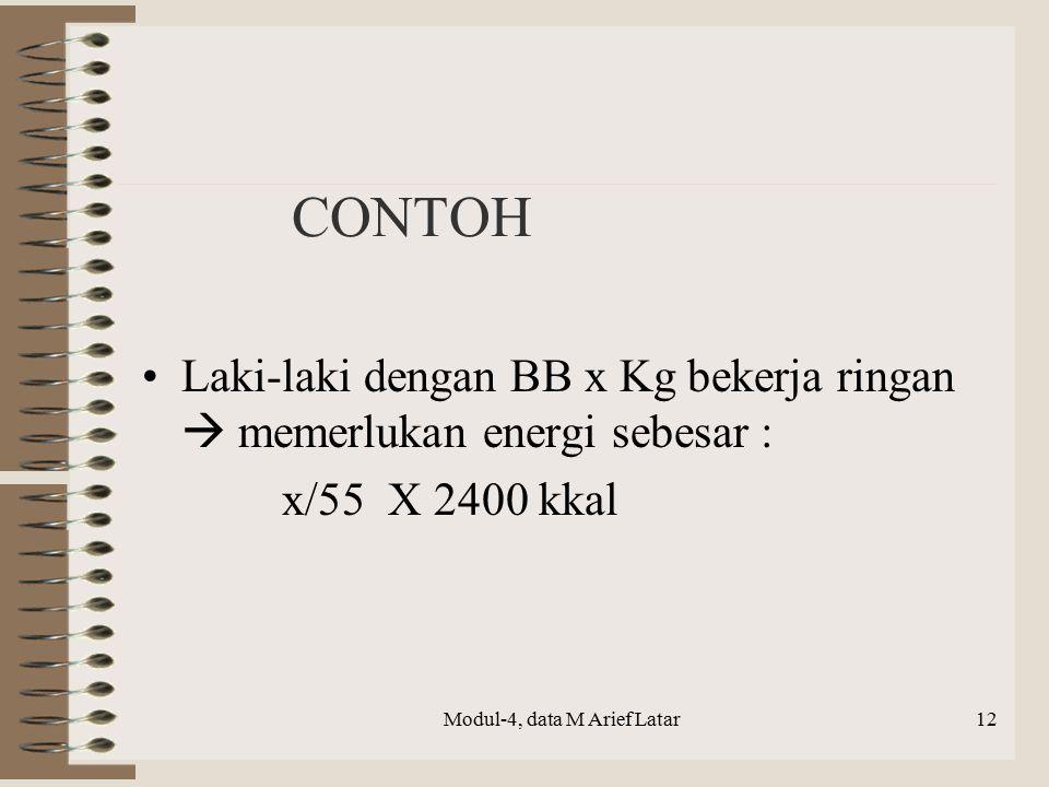 CONTOH Laki-laki dengan BB x Kg bekerja ringan  memerlukan energi sebesar : x/55 X 2400 kkal Modul-4, data M Arief Latar12