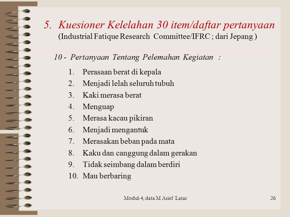 Modul-4, data M Arief Latar26 10 - Pertanyaan Tentang Pelemahan Kegiatan : 1.Perasaan berat di kepala 2.Menjadi lelah seluruh tubuh 3.Kaki merasa bera