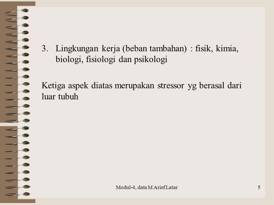 16 2.2.2.SEBAB – SEBAB KELELAHAN  Monotoni  Intensitas dan durasi kerja fisik dan mental  Lingkungan kerja (bising, cuaca kerja dan pencahayaan)  Psikologi, tanggung jawab, gusar dan onar  Sakit, ngilu dan gejala nutrisi (ILO 1983) Modul-4, data M Arief Latar
