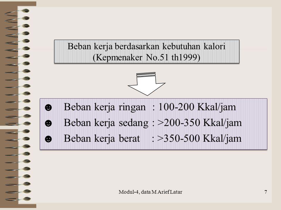 Beban kerja berdasarkan kebutuhan kalori (Kepmenaker No.51 th1999) ☻Beban kerja ringan : 100-200 Kkal/jam ☻Beban kerja sedang : >200-350 Kkal/jam ☻Beb