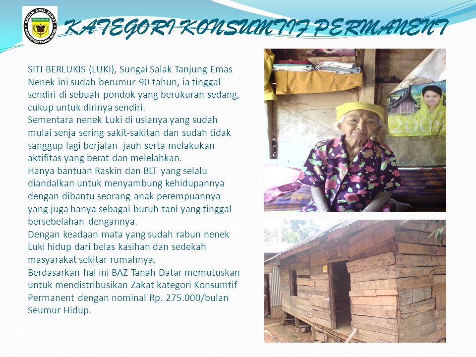 SITI BERLUKIS (LUKI), Sungai Salak Tanjung Emas Nenek ini sudah berumur 90 tahun, ia tinggal sendiri di sebuah pondok yang berukuran sedang, cukup untuk dirinya sendiri.