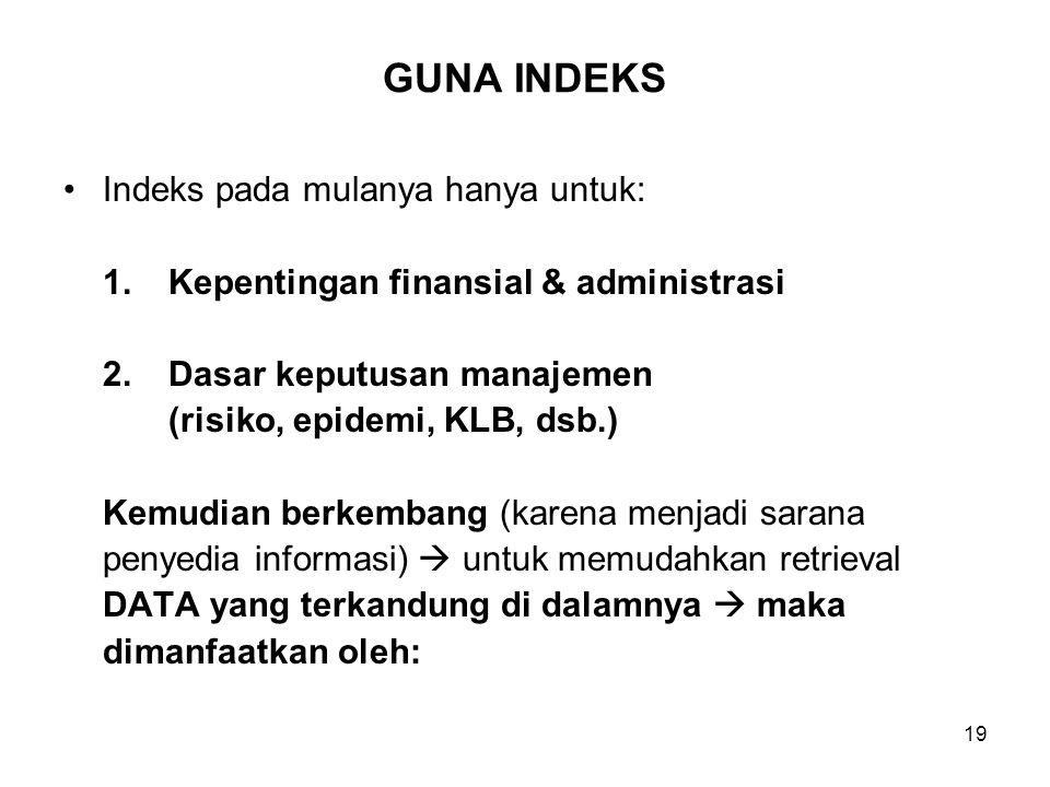 19 GUNA INDEKS Indeks pada mulanya hanya untuk: 1.Kepentingan finansial & administrasi 2.Dasar keputusan manajemen (risiko, epidemi, KLB, dsb.) Kemudi